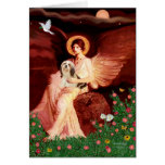 Lhasa Apso 4 - Seated Angel Greeting Cards