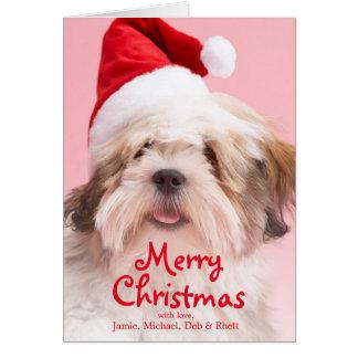 Lhasa Apso Dog Wearing Santa Hat Greeting Card
