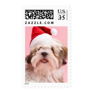 Lhasa Apso Dog Wearing Santa Hat Stamp