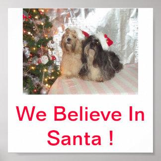 Lhasa Apso Dogs We Believe In Santa Print