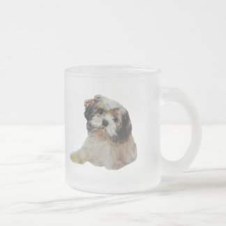 Lhasa Apso Frosted Glass Coffee Mug