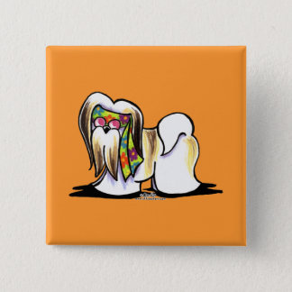 Lhasa Apso Hippie Pinback Button