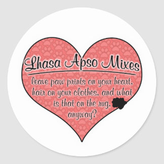 Lhasa Apso Mixes Paw Prints Dog Humor Classic Round Sticker