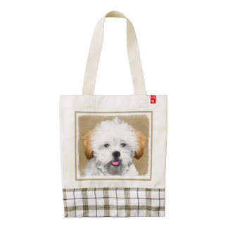 Lhasa Apso Puppy Painting - Cute Original Dog Art Zazzle HEART Tote Bag