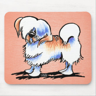 Lhasa Apso Red Parti Off-Leash Art™ Mouse Pad