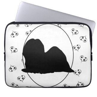 Lhasa Apso Silhouette Hearts and Paw Prints Laptop Sleeve