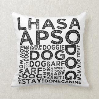 Lhasa Apso Typography Throw Pillow