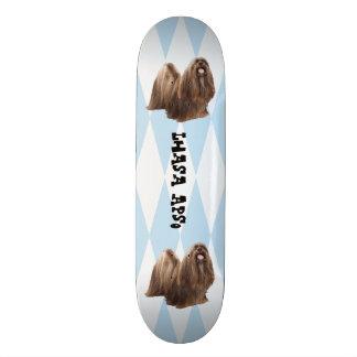 Lhasa Apso, White Diamonds on Blue Skateboard