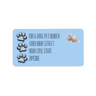 Lhasa Apso with 3 Blue Pawprints Label