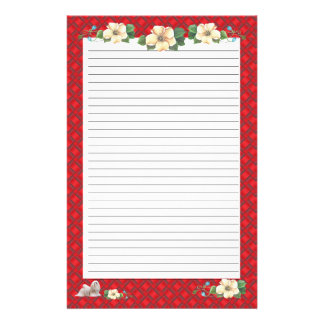 Lhasa Apso with Red Ribbon Floral [Lined] Stationery