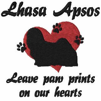 Lhasa Apsos Leave Paw Prints Embroidered Hoodie