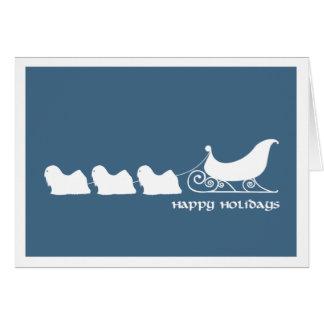 Lhasa Apsos Pulling Santa's Sleigh Card
