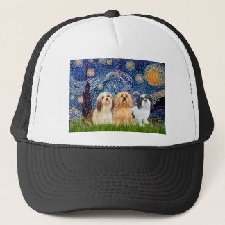 Lhasa Apsos (three) - Starry Night Trucker Hat