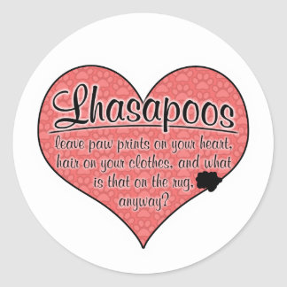 Lhasapoo Paw Prints Dog Humor Classic Round Sticker