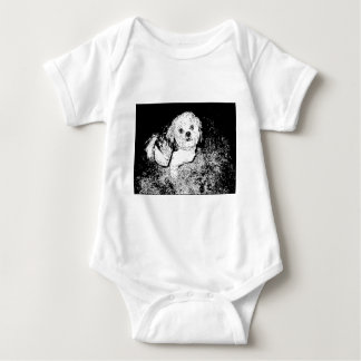 Lhaso Apso in Pen and Ink Baby Bodysuit