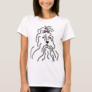 Lhaso Apso Pink Bow T-Shirt