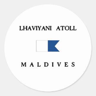 Lhaviyani Atoll Maldives Alpha Dive Flag Classic Round Sticker