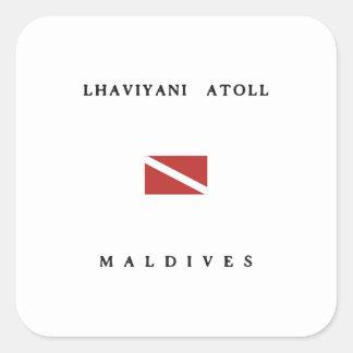 Lhaviyani Atoll Maldives Scuba Dive Flag Square Sticker