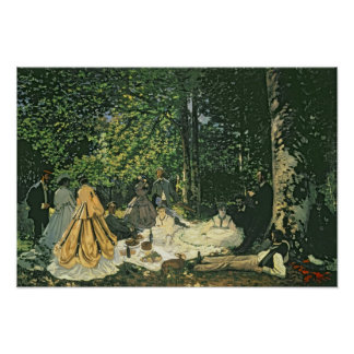l'Herbe del sur de Claude Monet el   Le Dejeuner, Póster