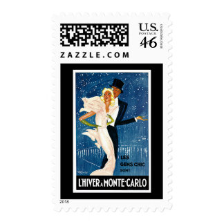 L'Hiver a Monte-Carlo Vintage Travel Advertisement Postage Stamps