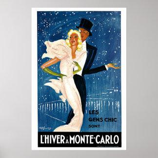 L'Hiver a Monte-Carlo Vintage Travel Advertisement Poster