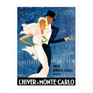 L'Hiver Monte Carlo Monaco Vintage Travel Postcard