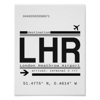 LHR London Heathrow Airport Call Letters Poster