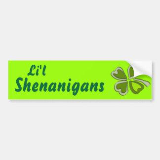 Li'l Shenanigans A Weird Party Shamrock Cartoonifi Car Bumper Sticker