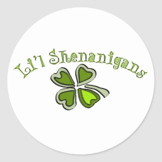 Li'l Shenanigans A Weird Party Shamrock Cartoonifi Classic Round Sticker
