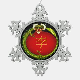 Li Monogram Dragon Snowflake Pewter Christmas Ornament