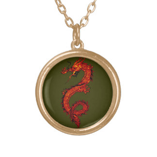 Li-wei the Magical Dragon Fantasy Art Personalized Necklace