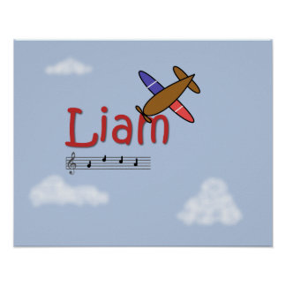 Liam Airplane Name Poster