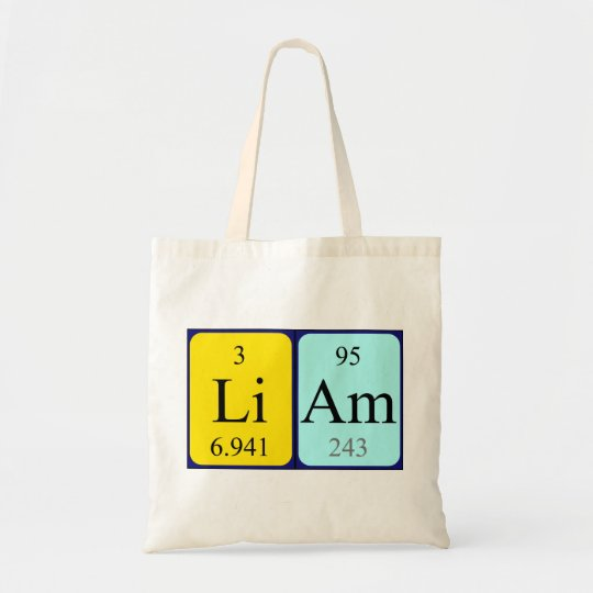 Liam periodic table name tote bag