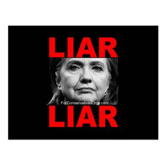 Liar Liar Hillary Clinton Postcard