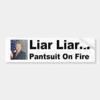 Liar liar pantsuit on fire bumper sticker
