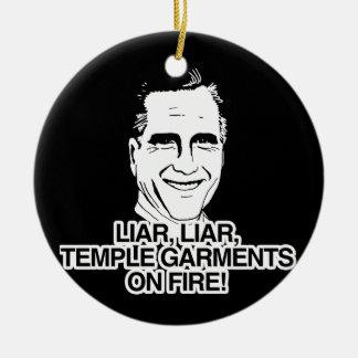 LIAR LIAR TEMPLE GARMENTS ON FIRE.png Christmas Ornament
