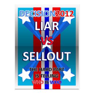 Liar vs Sellout Postcard