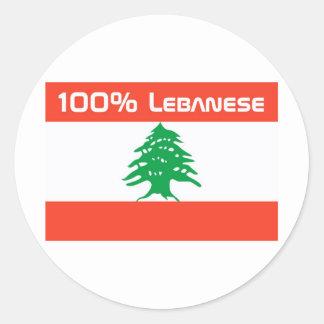 Libanés del 100% pegatina redonda