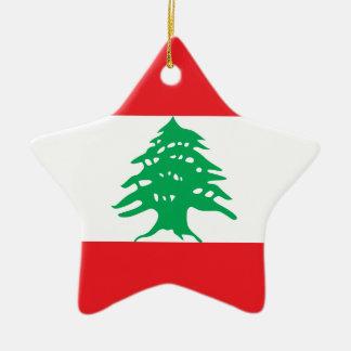 Líbano - bandera libanesa adorno navideño de cerámica en forma de estrella