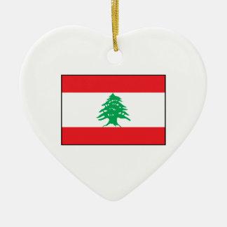 Líbano - bandera libanesa adorno de cerámica en forma de corazón