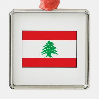 Líbano - bandera libanesa adorno cuadrado plateado