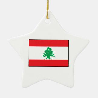 Líbano - bandera libanesa adorno de cerámica en forma de estrella