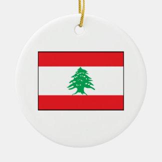 Líbano - bandera libanesa adorno redondo de cerámica