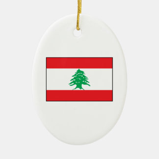 Líbano - bandera libanesa adorno ovalado de cerámica