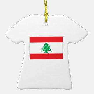 Líbano - bandera libanesa adorno de cerámica en forma de playera