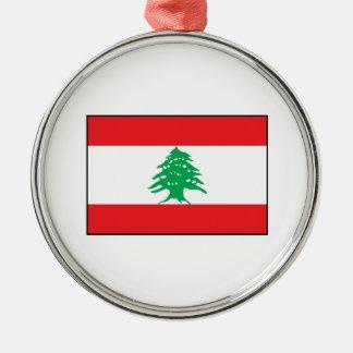 Líbano - bandera libanesa adorno redondo plateado