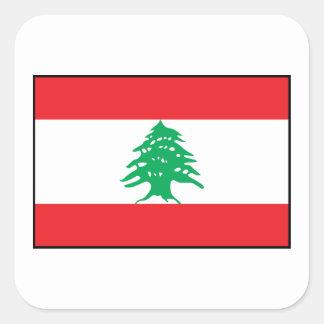 Líbano - bandera libanesa pegatina cuadrada