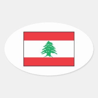 Líbano - bandera libanesa pegatina ovalada