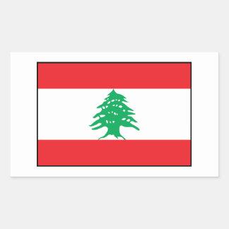 Líbano - bandera libanesa pegatina rectangular