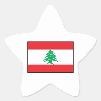 Líbano - bandera libanesa pegatina en forma de estrella